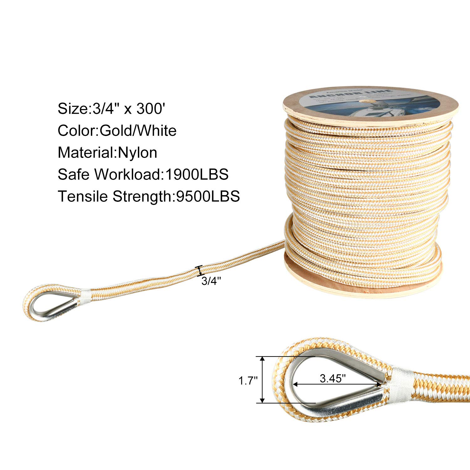 Amarine Made Heavy Duty Double Braid Nylon Anchor Line with Stainless Steel Thimble-White/Gold (3/4'' x 300')