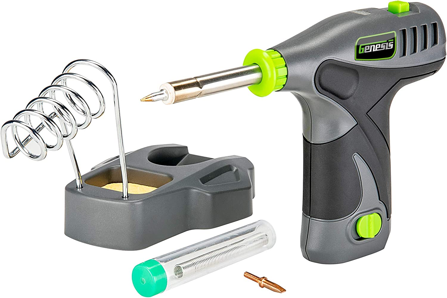 Genesis GLSI08B 8V Lithium-Ion Cordless Rapid Heat-Up Soldering Iron with Iron Holder, Solder Wire, Fine Tip, Chisel Tip, Removable Battery, and Charger