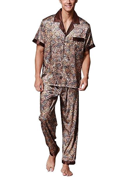 TieNew Pijama de satén para hombre Manga Larga Hombre camisones Pijamas, Hombre Del Pijama De