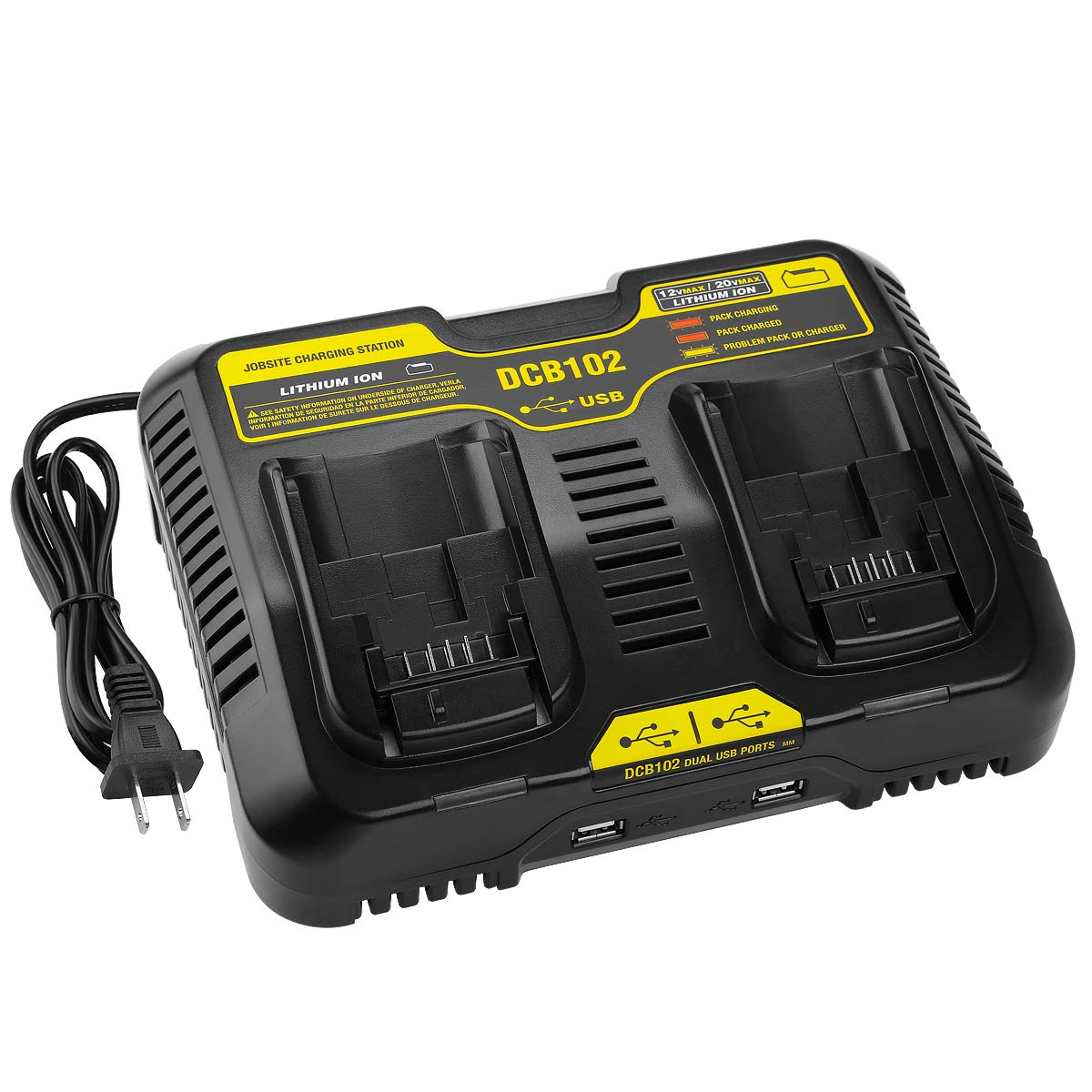Energup Replacement DCB102BP Charger for DEWALT 20-volt MAX Jobsite Charging Station DCB102 DCB102BP Dewalt 20v Lithium Battery DCB205-2 DCB204-2 Dewalt 20v charger by Energup