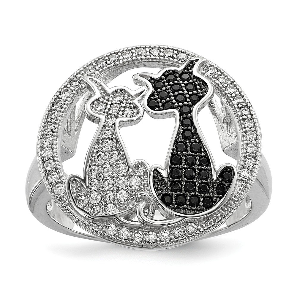 Sterling Silver & CZ Brilliant Embers Cat Ring Size 6