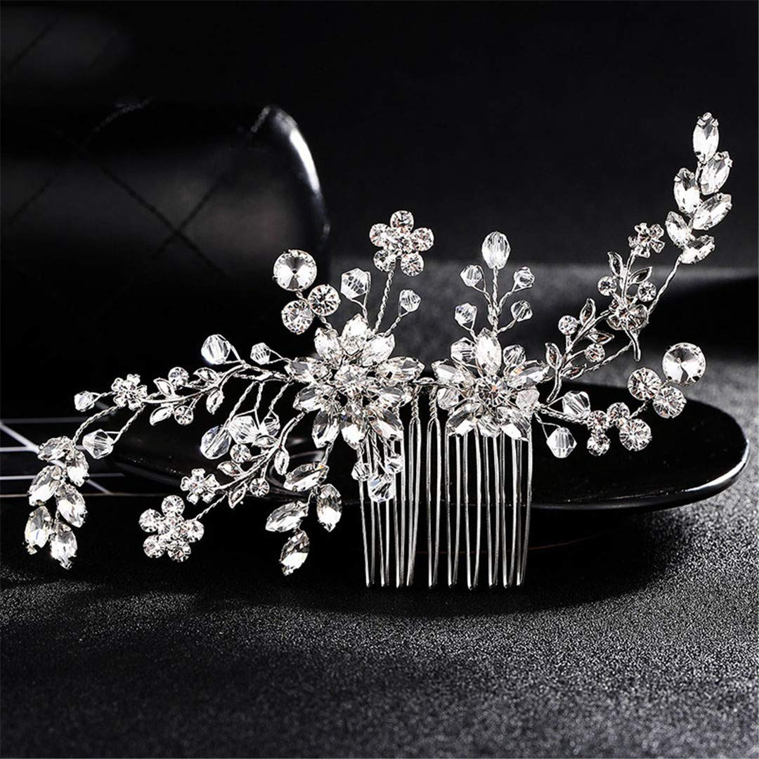 Crystal Rhinestone Hair Combs Flower Hair Clips Wedding Women Jewelry Hair Accessories Bridal Comb Girls Headwear Head Stick 3pcs by WDINGCMBS