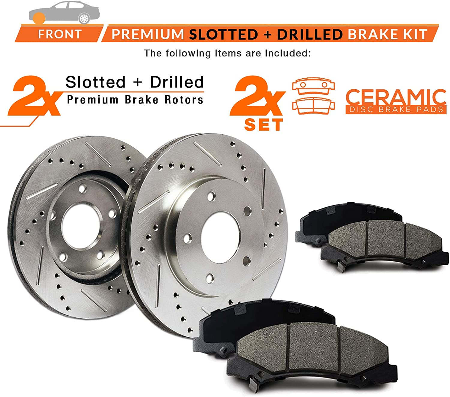 Max Brakes Front Performance Brake Kit Fits: 2008 08 2009 09 2010 10 2011 11 Subaru Tribeca Premium Slotted Drilled Rotors + Ceramic Pads KT016831