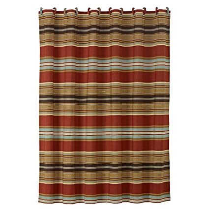 Os Southwestern Shower Curtain Horizontal Striped CurtainLuxe Gold Red Blue Mexican