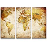 youkuart Canvas Prints Map Art, 3 Panels World Map Wall Art Antiquated Style, Framed & Stretched, Ready to Hang for Wall Decor
