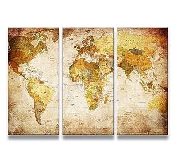 MOXO World Map Prints On Canvas Panels Artistic Map Paintings - Artistic world map