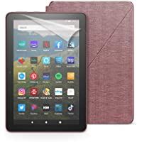 Fire HD 8 tablet, 32 GB, Plum + Amazon Fire HD 8 Cover, Plum + NuPro Screen Protector, 2-pack