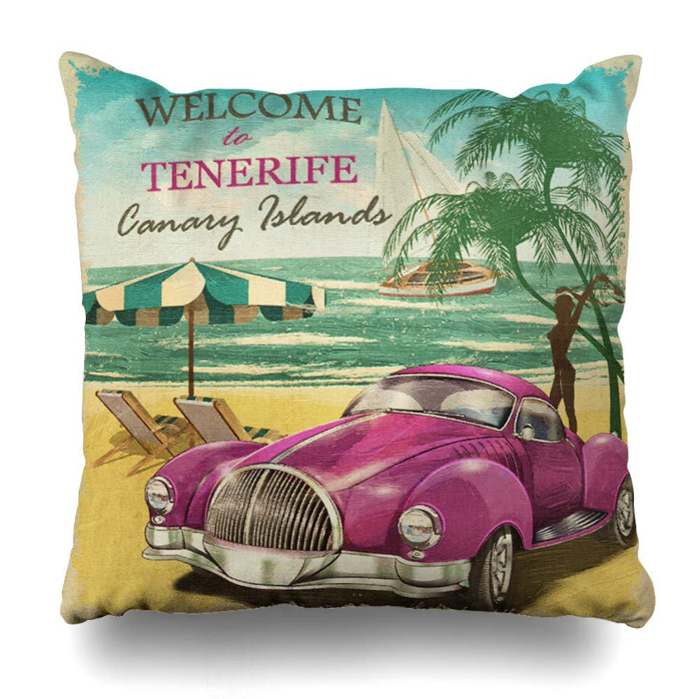 Amazon.com: Ahawoso Throw Pillow Cover Car Welcome Tenerife ...