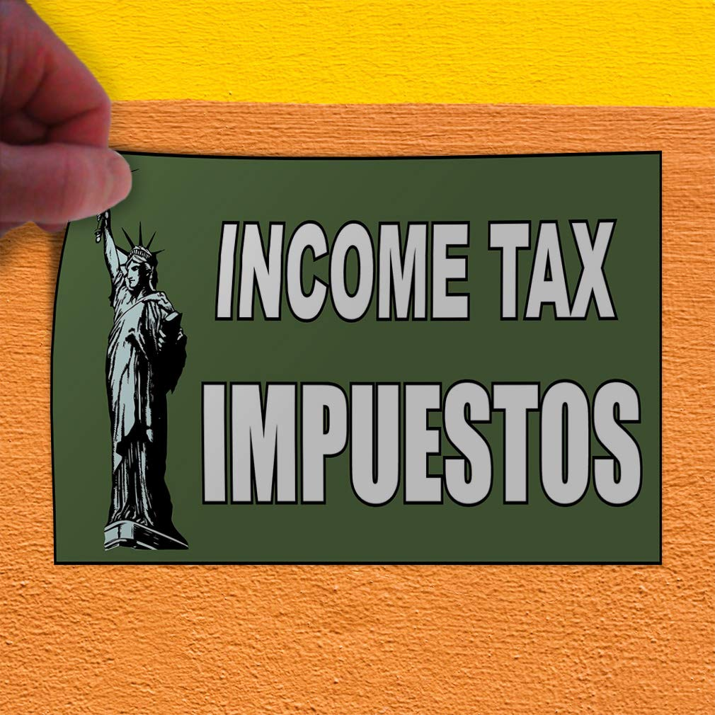 14inx10in Decal Sticker Multiple Sizes Income Tax Impuestos1 Business Paid Income Tax Outdoor Store Sign Green Set of 10