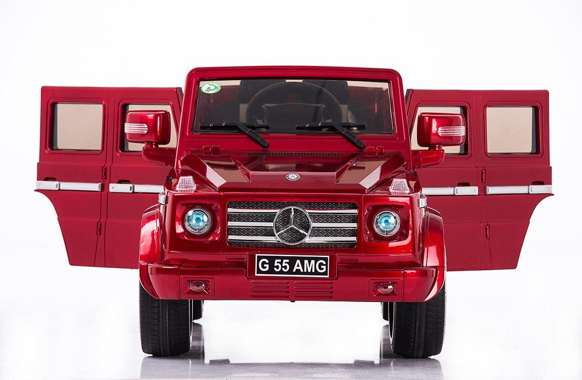 Mercedes G AMG, Rojo brillante, los niños del coche eléctrico, coche niños, 2x motor, batería de 12 V, con mando a distancia, Ruedas EVA Suave