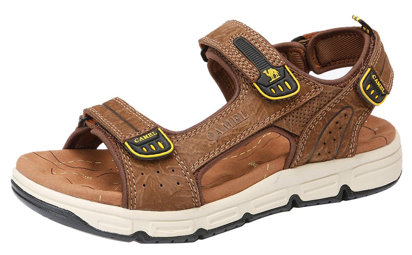 Mens Cowhide Leather Comfort Sport Sandals Outdoor Walking Sandals Beach Waterproof Strap Open Toe Shoes for Men,Dark Brown,250mm