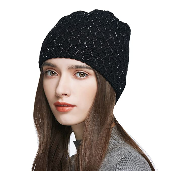 f2b59077e94 Women s Winter Slouchy Double Layered Wool Knitted Beanie Cap Crochet  Cotton Hat  Amazon.ca  Clothing   Accessories