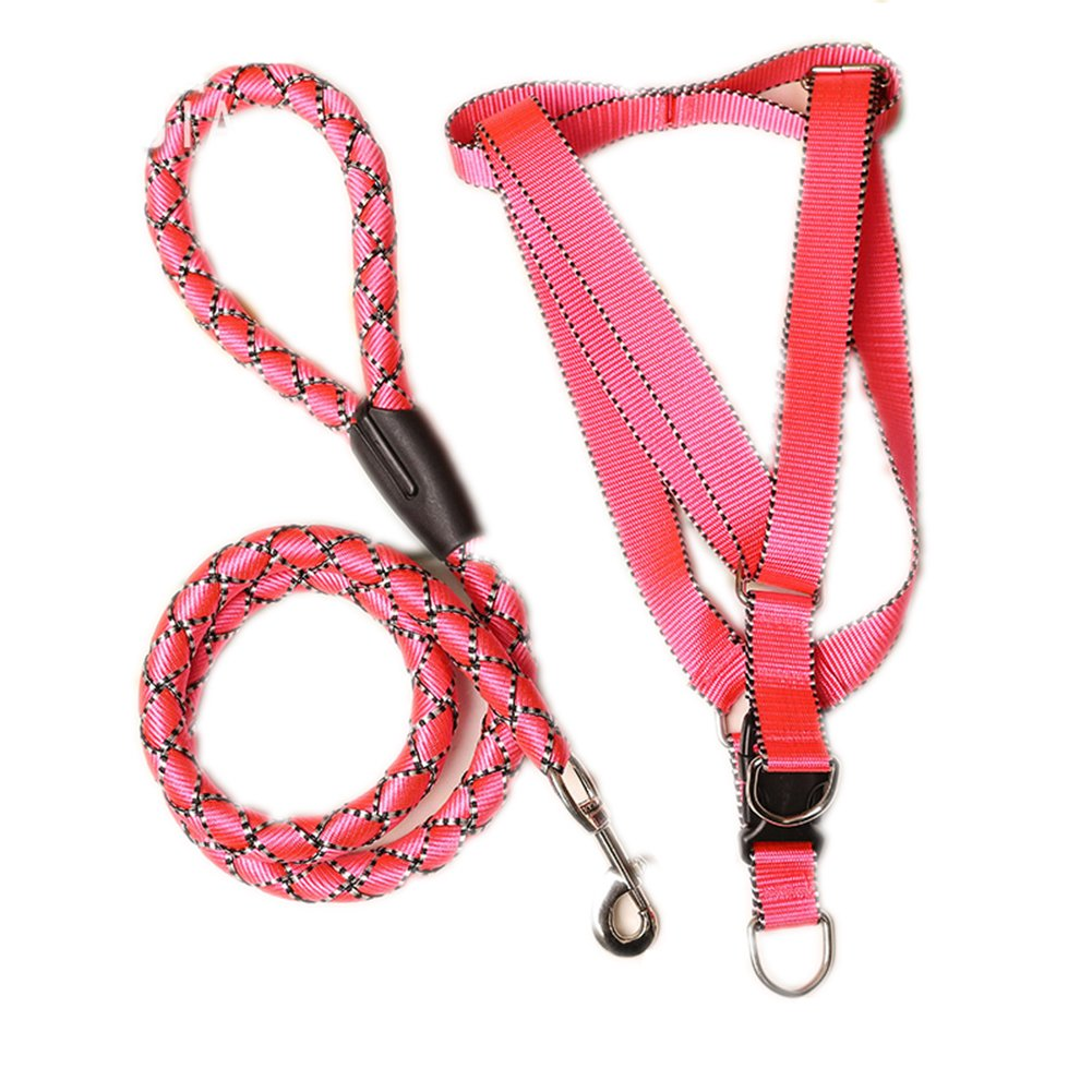 Pink Pet Dog Leash Vest Collar Harness No-Pull Dog Leash Halter Harness, Safe Dog Harness,Adjustable Pink
