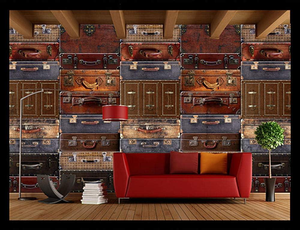 LYBH Fondo de pantalla mural 3D fondo de foto autoadhesivo maleta de viaje vintage maleta de equipaje 250x175 cm (ancho x alto) niños dibujos animados niño niña dormitorio decoración cartel fondo de