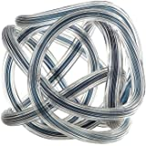 "New 6"" Hand Blown Glass Murano Art Style Knot Sculpture Figurine Clear Blue"