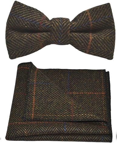 Handmade Dark Grey Check Tweed Classic Tie and Pocket Square Regular Tweed Tie