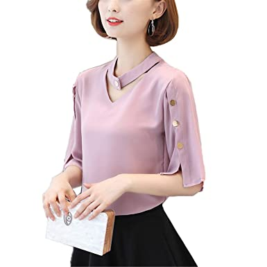 SCGOLD Women V-Neck Tops Ladies Chiffon Blouse Button Short Sleeve White Shirts Summer Pink