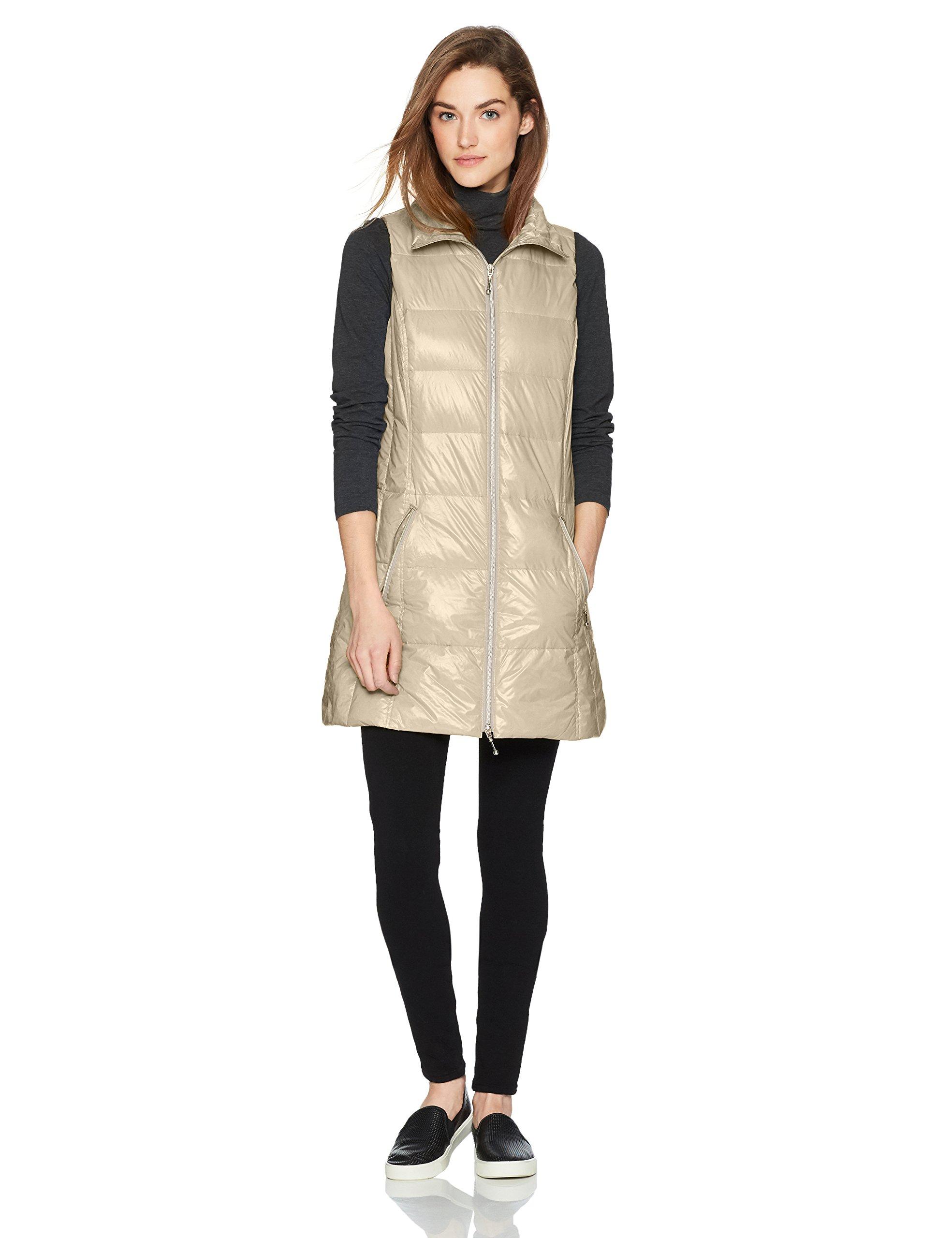 Coatology Women's Classic Long Down Vest Outerwear, -pebble, M