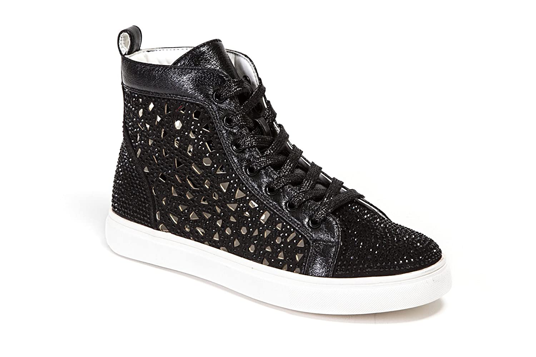 Lady Couture Flat Laser Cut High Top Bling Rhinestone Sneaker Women's Shoes New York B0796XXFLZ 39-EU|Black