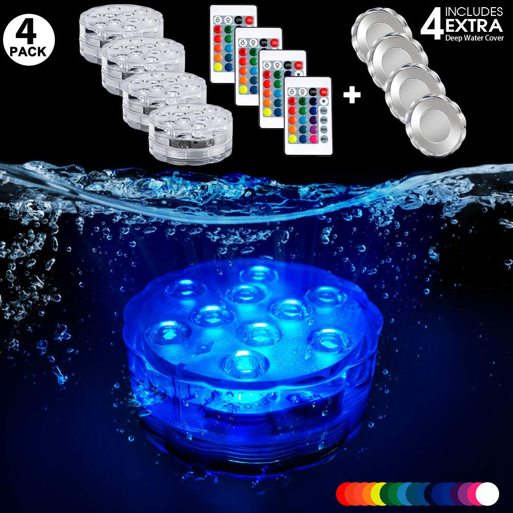 Pool Lights Submersible LED Lights With 4 Deep Cover Waterproof Underwater Remote Controlled Battery Operated Wireless Multi-color Submersible Led Lights for Hot Tub,Pond,Pool,Fountain,Waterfall,Aqua