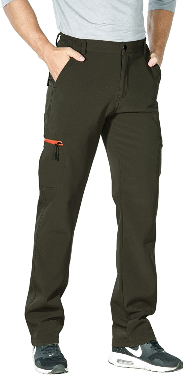 Nonwe Mens Warm Windproof Zipper Pockets Snow Pants Fleece Mountain Hiking Ski Trip