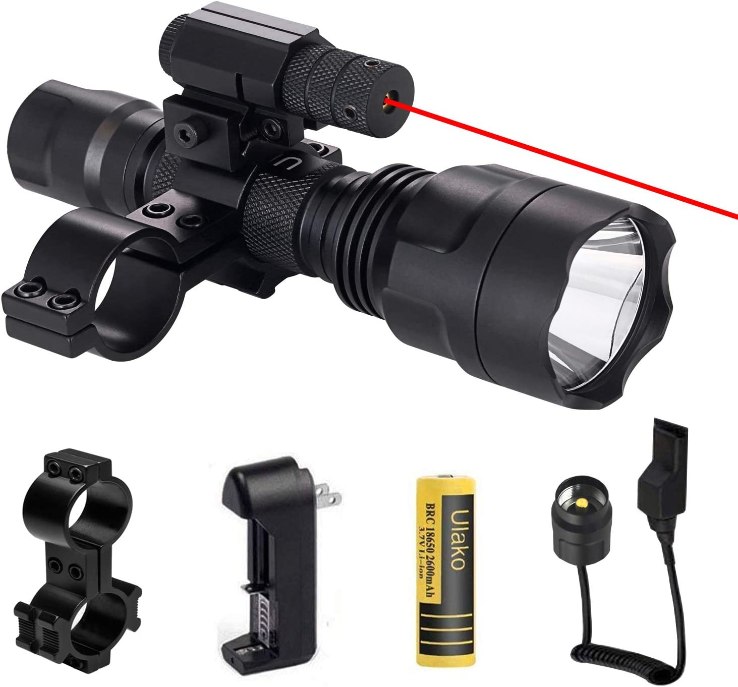 Details about  /Hunting Flashlight Red LED Coyote Torch Light Outdoor Combo Scope Gun Mount Kits