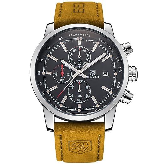 benyar cuarzo cronógrafo impermeable relojes Business Casual Deporte banda correa de piel color marrón reloj de pulsera: Amazon.es: Relojes