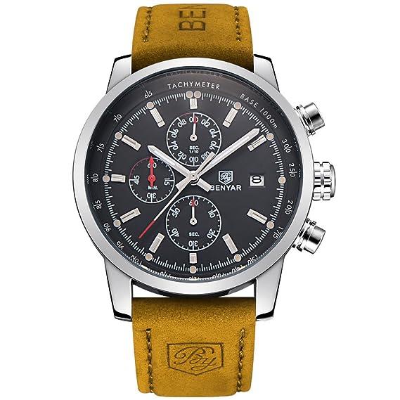 benyar cuarzo cronógrafo impermeable relojes Business Casual Deporte banda  correa de piel color marrón reloj de pulsera  Amazon.es  Relojes 141f60cc5b1c