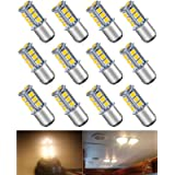 ALOPEE 12-Pack BA15D 1142 Soft Warm White 3000K 5050 18 SMD LED Car Replacement Bulb for Interior RV lighting Camper…