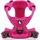 Louvra Dog Harness Small Heavy Duty Adjustable Pet Dog Vest Harness with Handle Outdoor Adventure 3M Reflective No Pull Pet Vest Harness for Puppy Dog Training or Walking S-M-L-XL(Pink,S)