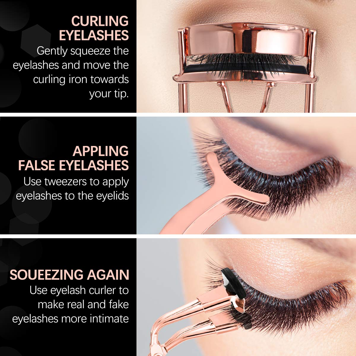 Eyelash Curler Kit for Women, Liaboe Mini Eyelash Makeup Tools Set with 2 Pieces Eyelash Curle, False Eyelashes Extension Tweezers, and Scissors, Mini Eyelash Curler fits All Eye Shape (Rose Gold) : Beauty