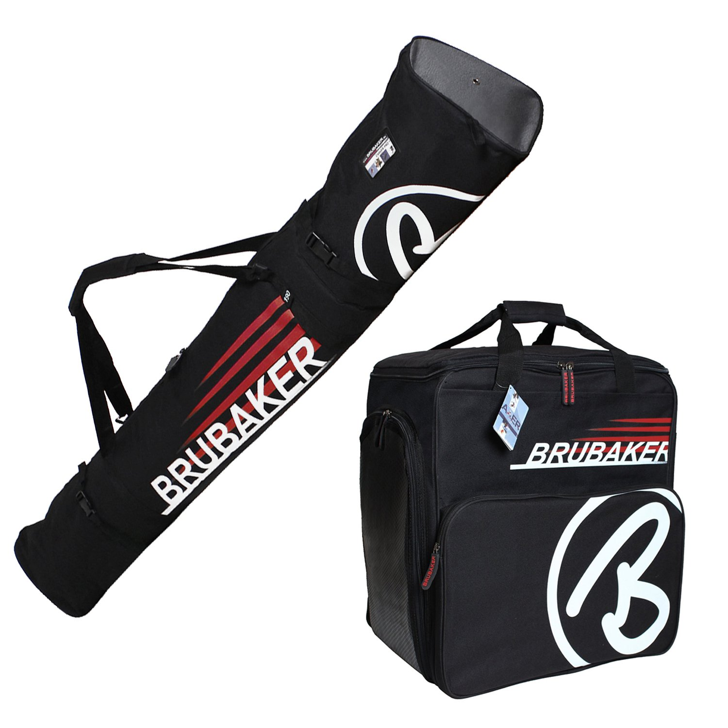 HENRY BRUBAKER ''Champion'' Combo Ski Boot Bag and Ski Bag for 1 Pair of Ski up to 190 cm, Poles, Boots and Helmet - Black Red