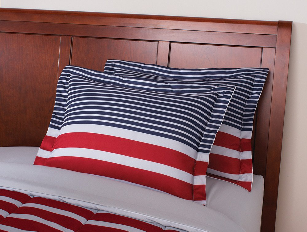 N2 6 Piece Blue White Red American Themed Comforter Twin Set, Patriotic Bedding America Flag Colors Grey Stripes USA Patriot Pattern Country United States Gray, Reversible Polyester