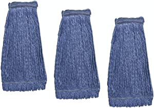 KLEEN HANDLER Heavy Duty Commercial Mop Head Replacement | Wet Industrial Blue Cotton Looped End String Cleaning Mop Head Refill (Pack of 3)