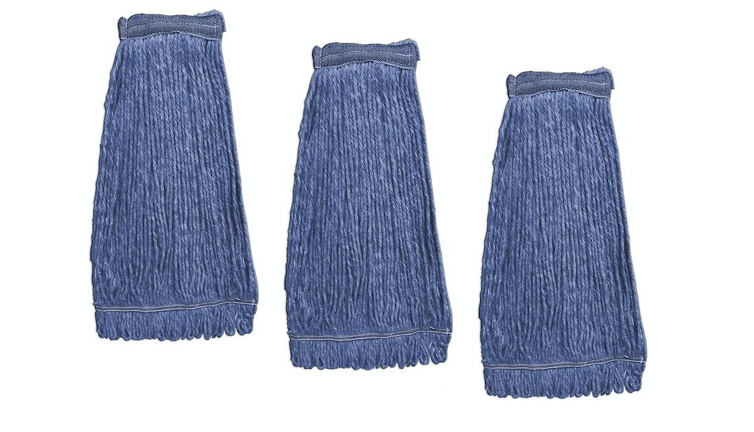 KLEEN Handler General Cleaning Mop Heavy Duty Commercial Replacement, Wet Industrial Blue Cotton Looped End String Head Refill (Pack of 3)