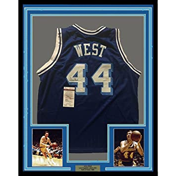 b30b9ac84 Jerry West Signed Jersey - FRAMED 33x42 LA Blue Retro COA - JSA Certified -  Autographed