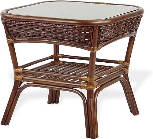 Deal of the week: Alexa Square Coffee Table Dark Walnut Color Natural Rattan Wicker Handmade Design