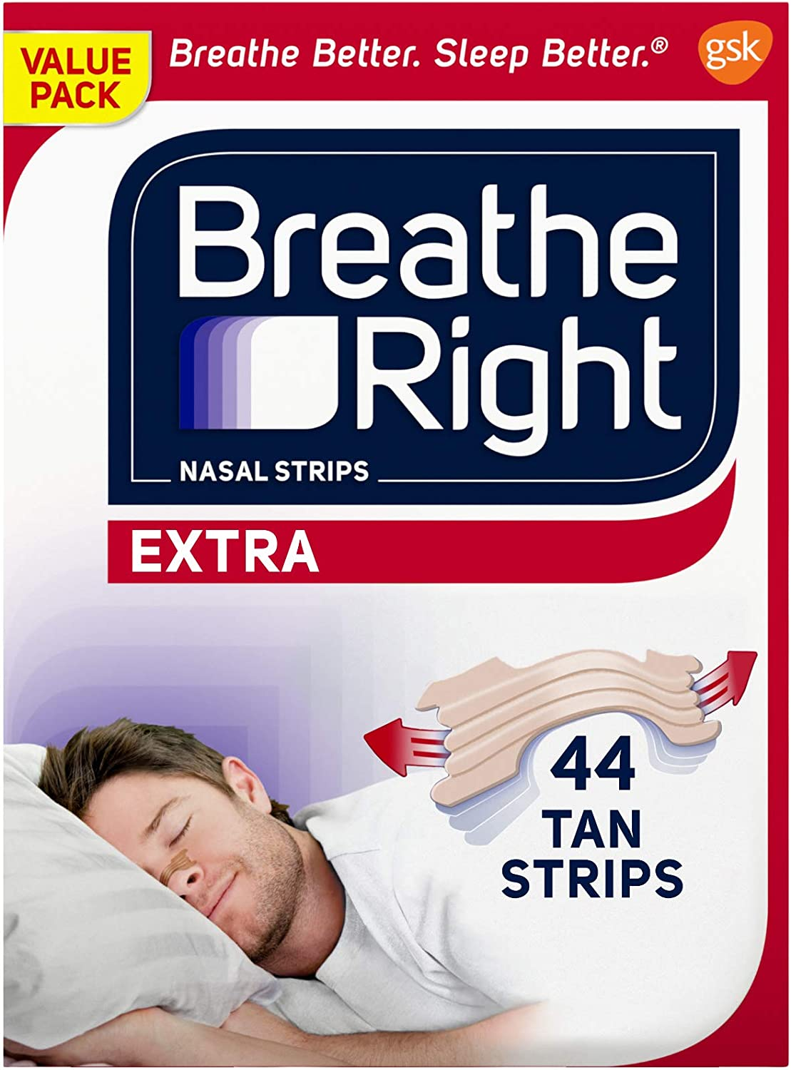 Breathe Right Extra Tan Drug-Free Nasal Strips for Nasal Congestion Relief, 44 count: Health & Personal Care