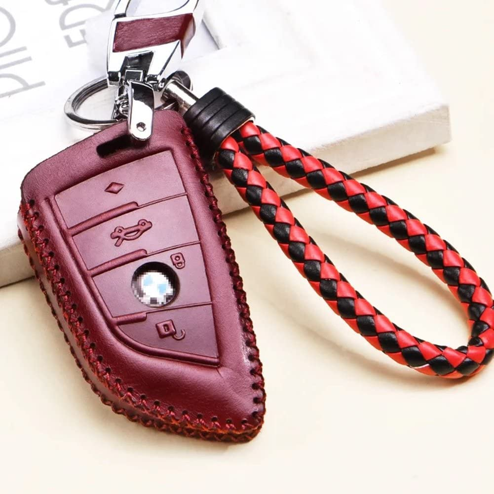 Wine Red Genuine Leather Cover for 4-Button Car Remote Smartkey Key Protection Skin Etui Key Fob Case Cover with Braided Wrist Strap /& Keychain for BMW Keyless Entry F15 X5 BMW F16 X6 X-Series