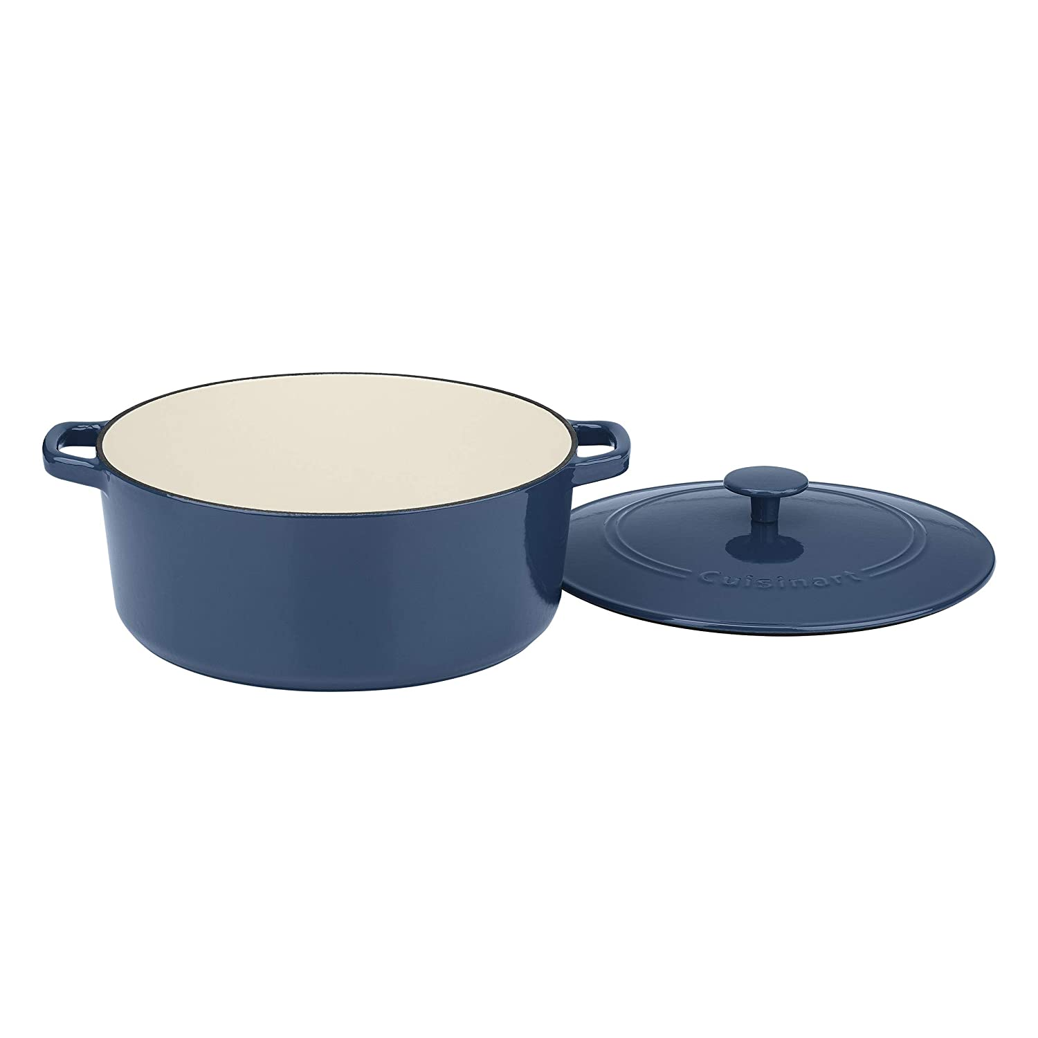 Cuisinart CI670-30BG 7 Qt Round Casserole Covered, Enameled Provencial Blue