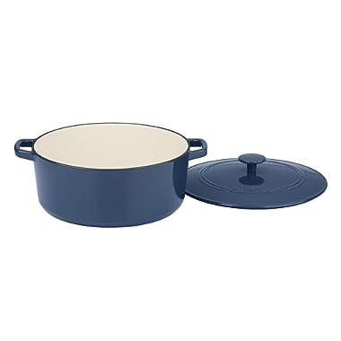 Cuisinart CI670-30BG 7 Qt Round Casserole, Covered, Enameled Provencial Blue