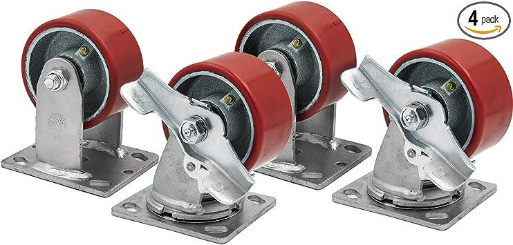 """4/"""" X 2/"""" Swivel /& Rigid Caster Set Heavy Duty Red Polyurethane Wheel on Steel Hub"""