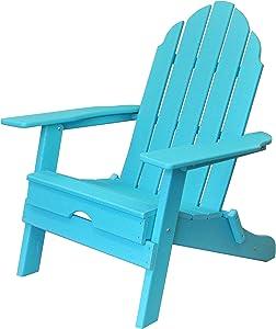ResinTEAK Plastic Folding Adirondack Chair, Aqua Blue | Adult-Size, Weather Resistant for Patio Deck Garden, Backyard & Lawn Furniture | Easy Maintenance & Classic Adirondack Chair Design