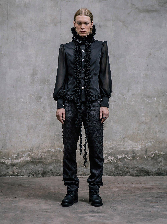 Gothic Victorian Black Silk Pants Men Steampunk Fashion High Waist Halloween Trousers 5