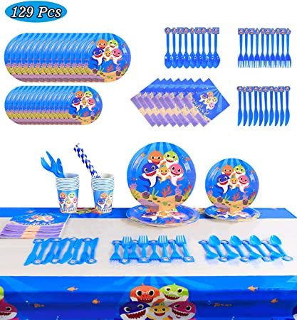 Shark Party Supplies Set Baby Shark Party Tableware Shark Party Plates Paper Cups,Tablecloth,Banner for Kids Birthday Baby Shower Decorations Serves 10 Guests,136Pcs