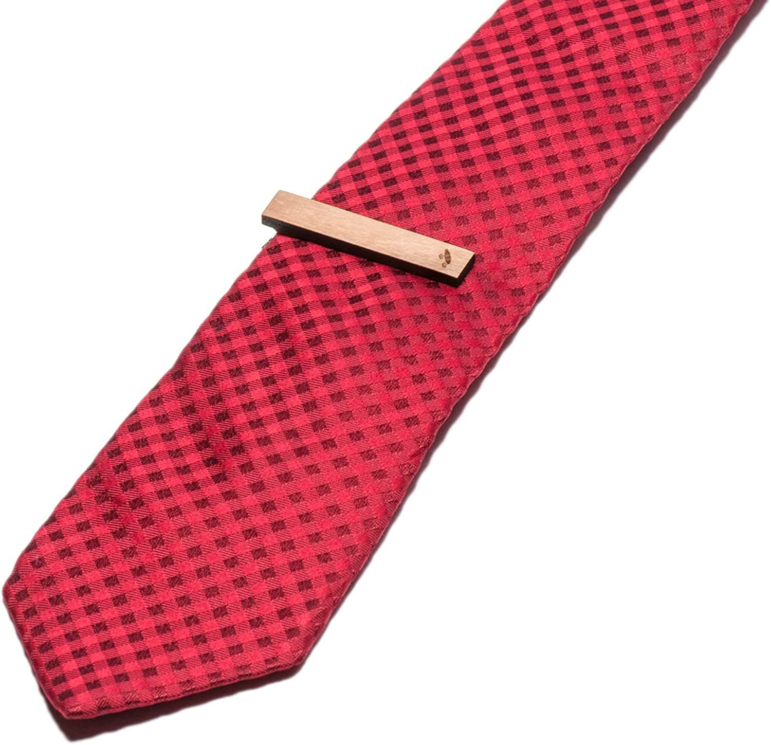 Wooden Accessories Company Wooden Tie Clips with Laser Engraved Fishing Bait Design Cherry Wood Tie Bar Engraved in The USA