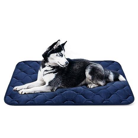 Hero Dog Cama Colchoneta Perro Grande Lavable, Cojines para Mascotas Antideslizante Vellón Almohadilla Suave 107x70 cm (Azul L)
