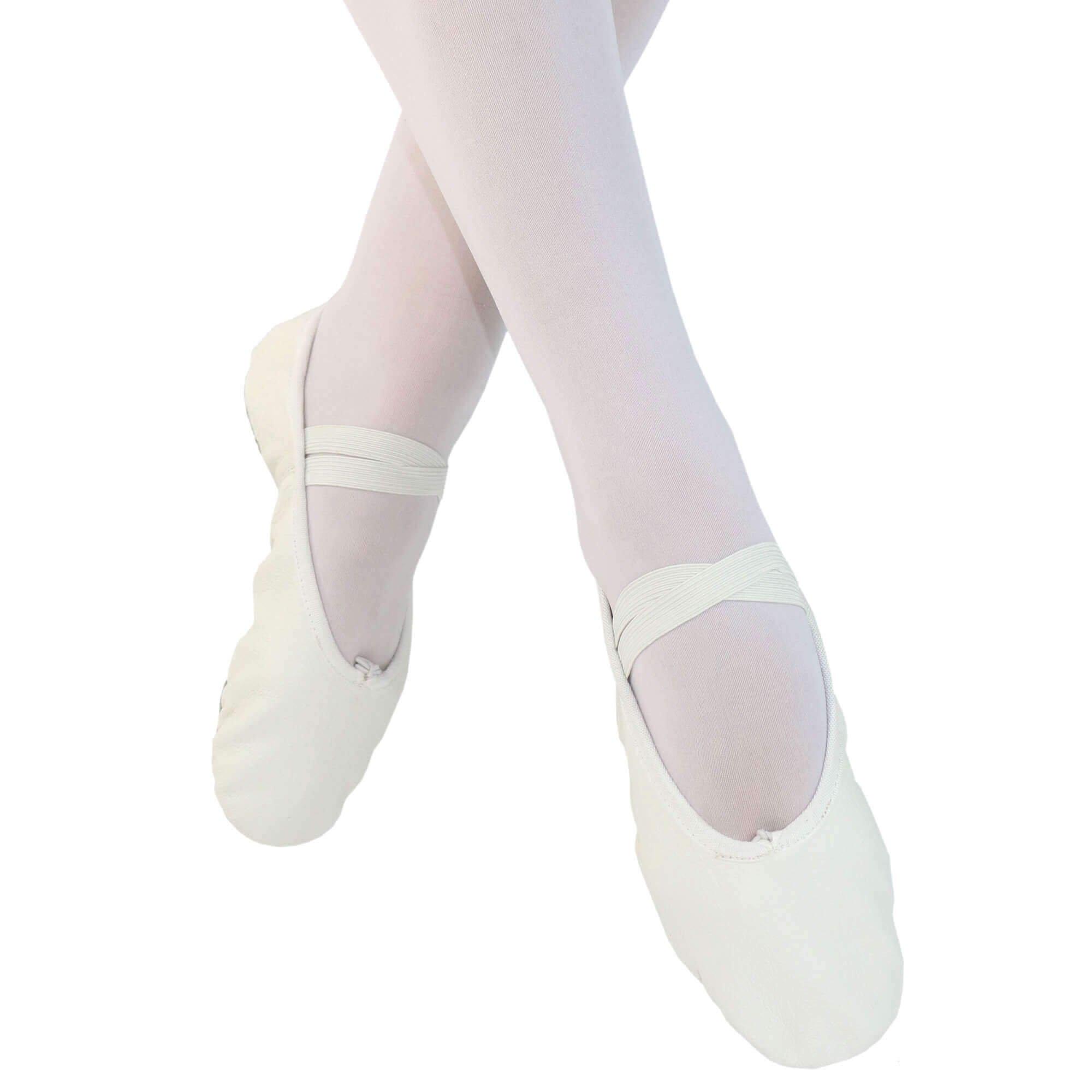 Danzcue Child Split Sole Leather White Ballet Slipper 12.5 M US