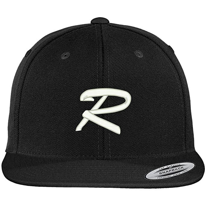 83b4f679 Trendy Apparel Shop Letter R Brushed Script Embroidered Flat Bill Snapback  Baseball Cap - Black