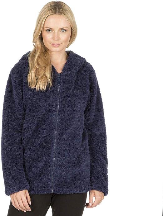 Ladies Womens Fleece Snuggle Top Lounge Hooded Shawl Full Zip Pullover Winter